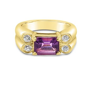 14K Yellow Gold Amethyst Diamond Retro Ring