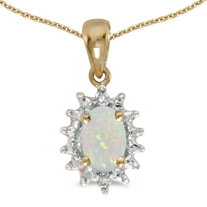 Color Merchants 10k Yellow Gold Oval Opal And Diamond Pendant