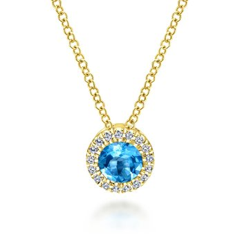 14k Yellow Gold Round Swiss Blue Topaz Diamond Halo Fashion Necklace