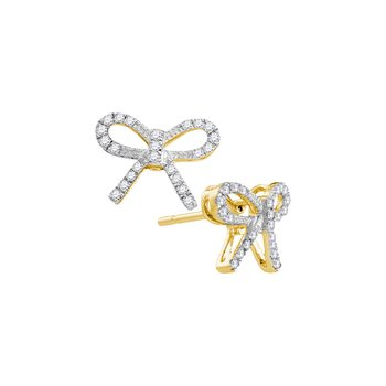 10kt Yellow Gold Womens Round Diamond Bow-tie Stud Earrings 1/5 Cttw