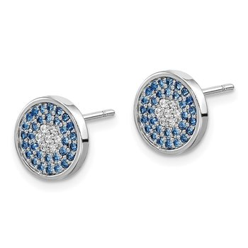 Sterling Silver Rhodium plated Blue Spinel and CZ Post Earrings
