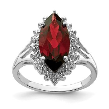Sterling Silver Rhodium Garnet Diamond Ring