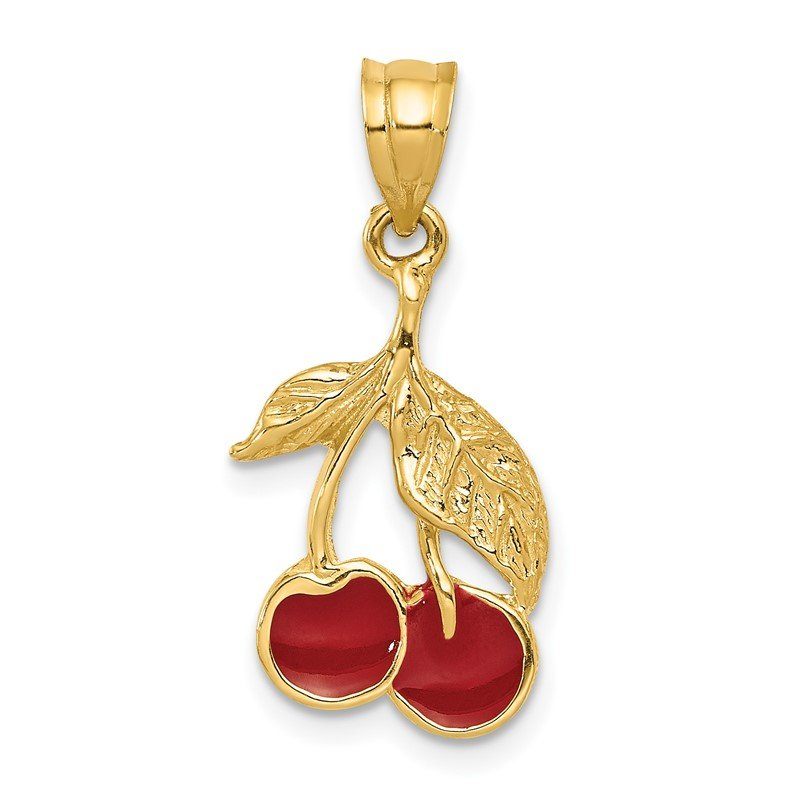 Quality Gold 14k Polished Red Enameled Cherries Pendant
