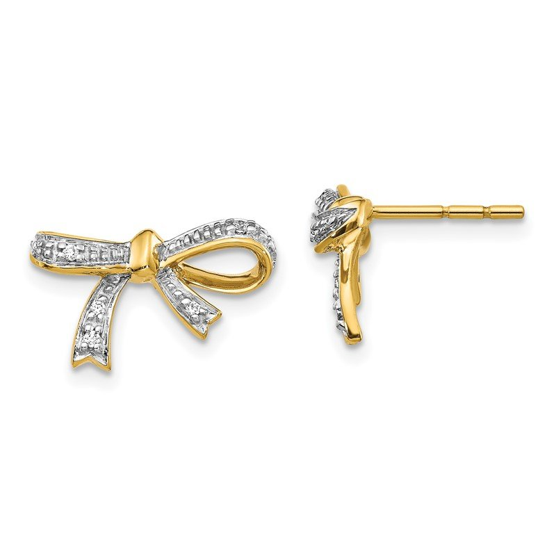 Quality Gold 14k Diamond Bow Post Earrings