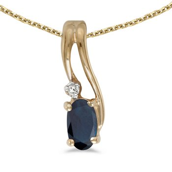10k Yellow Gold Oval Sapphire And Diamond Wave Pendant