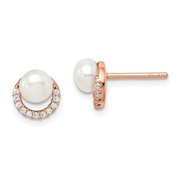 Sterling Silver Rose-tone w/ FW Cultured Pearl and CZ Earrings
