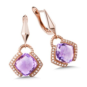 Amethyst & Diamond 14K Rose Gold Earrings