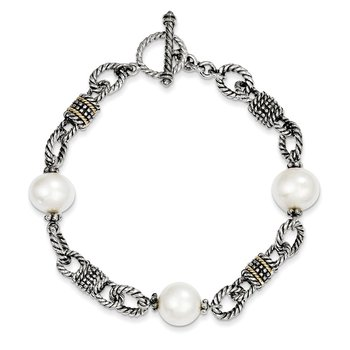 Sterling Silver w/14k FW Cultured Pearl Bracelet