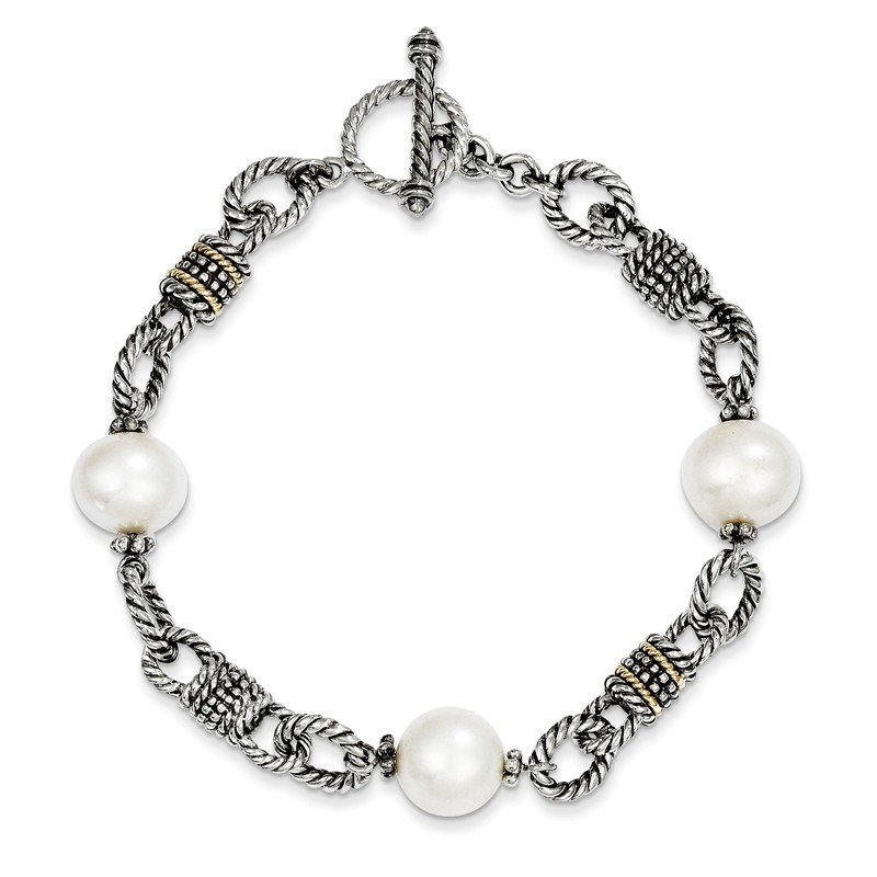 Shey Couture Sterling Silver w/14k FW Cultured Pearl Bracelet