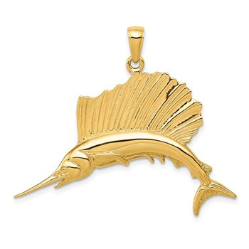 14k Polished Sailfish Pendant