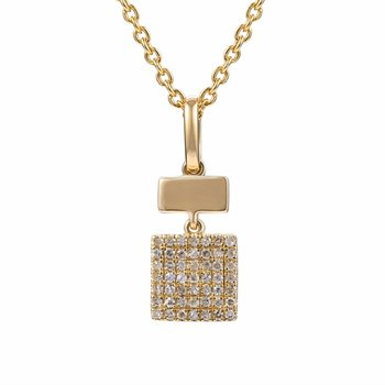 Beautiful 14k warm tones of yellow gold pendant set with diamonds T.W  0.15ct
