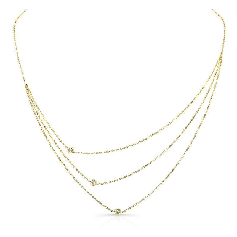 Yellow Gold Triple Row Bezel Necklace