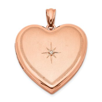 Sterling Silver Rose Gold-plated & Diamond 24mm D/C Heart Locket