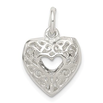 Sterling Silver Filigree Heart Charm