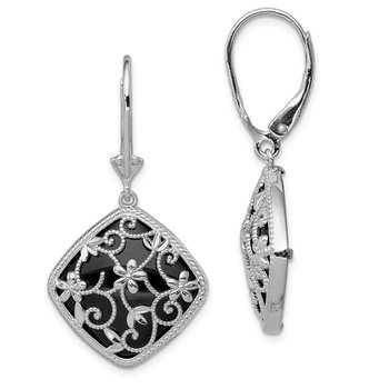 Sterling Silver Rhodium-plated Textured and D/C Onyx Leverback Earrings