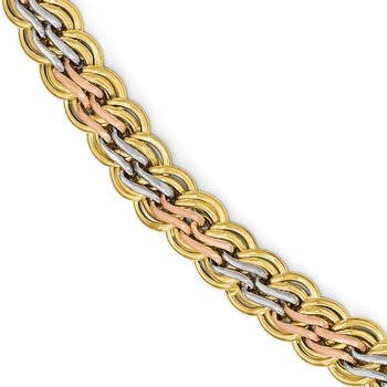 Leslie's 14k w/White & Rose Rhodium Fancy Link Bracelet