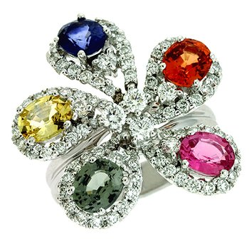 Color Diamond & Sapphire Ring