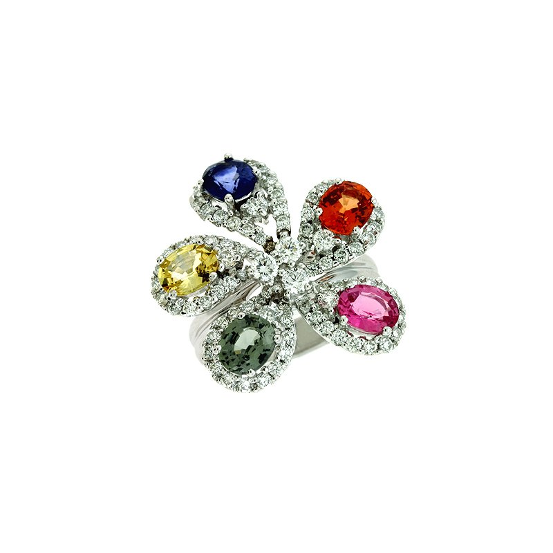 S. Kashi  & Sons Color Diamond & Sapphire Ring