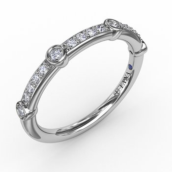 Bead Set Diamond Band with Diamond Bezel Stations