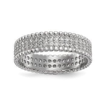 Sterling Silver Rhodium-plated Polished CZ 5.0mm Band