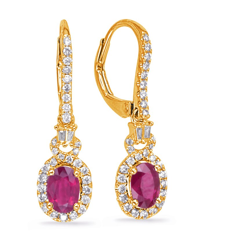 S. Kashi  & Sons Yellow Gold Ruby & Diamond Earring