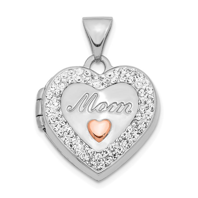 Quality Gold 14K White Gold w/ Rose Rhodium Plated Crystal 16mm MOM Heart Locket Pendant