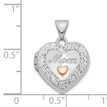 14K White Gold w/ Rose Rhodium Plated Crystal 16mm MOM Heart Locket Pendant