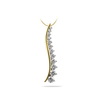 14K YG Diamond Staircase Journey Pendant
