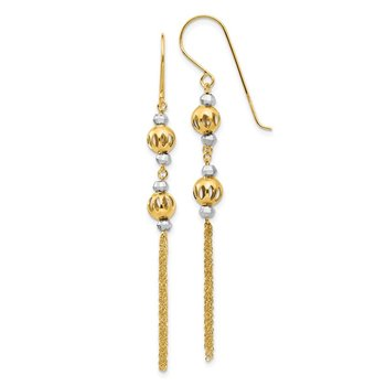 14k Two-tone Bead and Chain Dangle Earrings