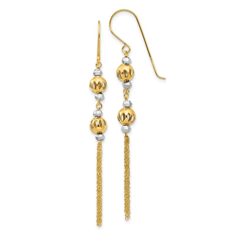 Quality Gold 14k Two-tone Bead and Chain Dangle Earrings