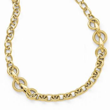 Leslies 14k Gold Polished Textured Fancy Link Necklace