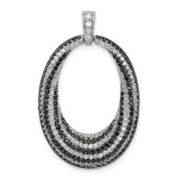 Sterling Silver Rhodium-plated Black and White CZ Open Oval Fancy Pendant