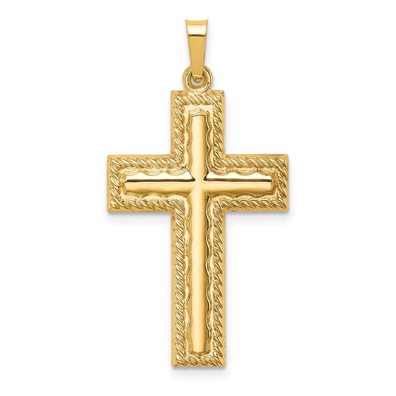 Quality Gold 14k Hollow Polished Rope Edge Latin Cross