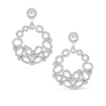 Diamond Geometric Earrings in 14K White Gold with 290 Diamonds Weighing 1.07 ct tw