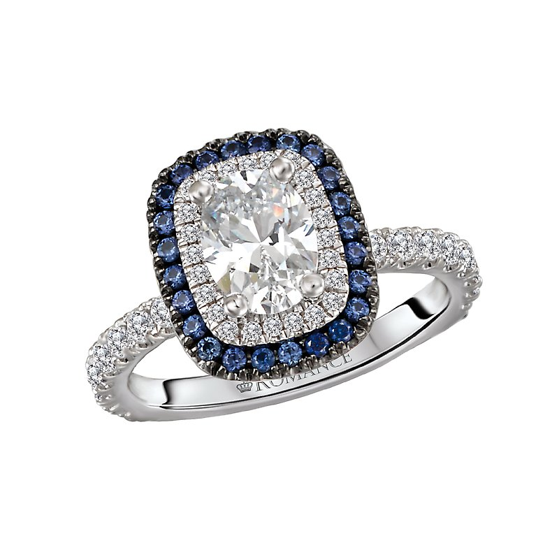 Diamond and Sapphire Halo Semi Mount Engagement Ring