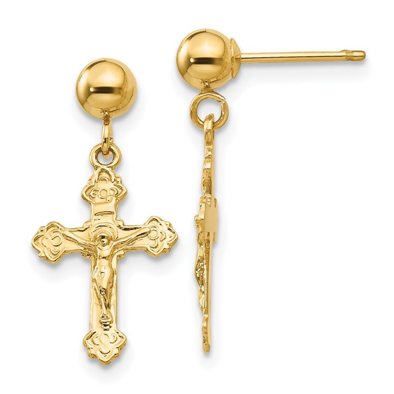 Quality Gold 14k Polished Crucifix Post Earrings