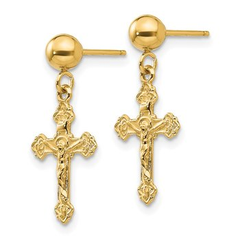 14k Polished Crucifix Post Earrings