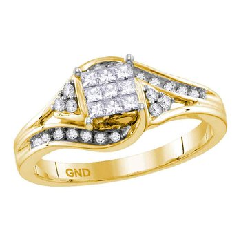 14kt Yellow Gold Womens Princess Diamond Cluster Bridal Wedding Engagement Ring 1/3 Cttw
