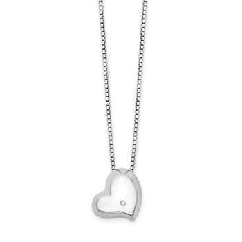 SS White Ice Satin & Polished Diamond Heart Necklace