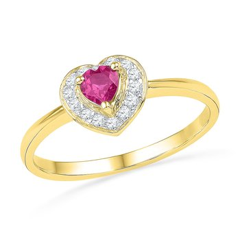 10kt Yellow Gold Womens Round Lab-Created Pink Sapphire Heart Love Ring 1/10 Cttw