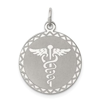 Sterling Silver Rhodium-plated Caduceus Disc