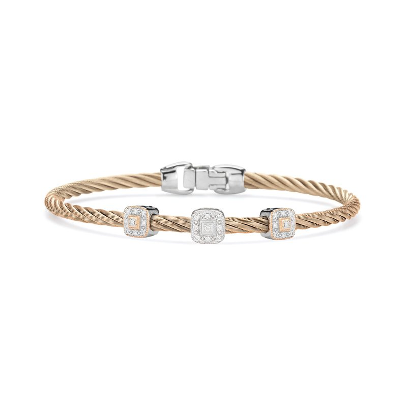 ALOR Carnation Cable Essential Stackable Bracelet with Triple Square Diamond station set in 18kt White & Rose Gold