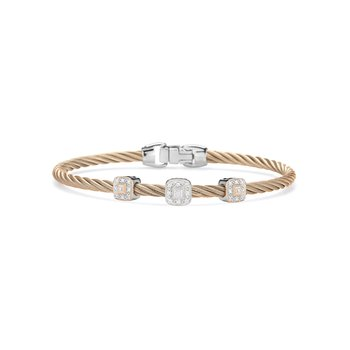 Carnation Cable Essential Stackable Bracelet with Triple Square Diamond station set in 18kt White & Rose Gold