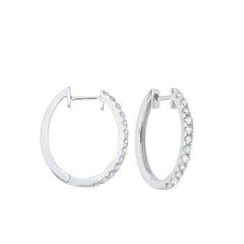 Prong Set Diamond Hoop Earrings in 14K White Gold (1/2 ct. tw.) SI2 - G/H