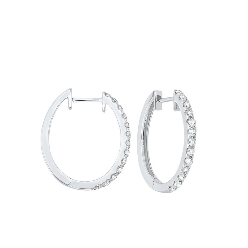 Gems One Prong Set Diamond Hoop Earrings in 14K White Gold (1/2 ct. tw.) SI2 - G/H