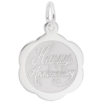 Happy Anniversary Scalloped Disc Charm