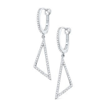 14k Diamond Triangle Earrings