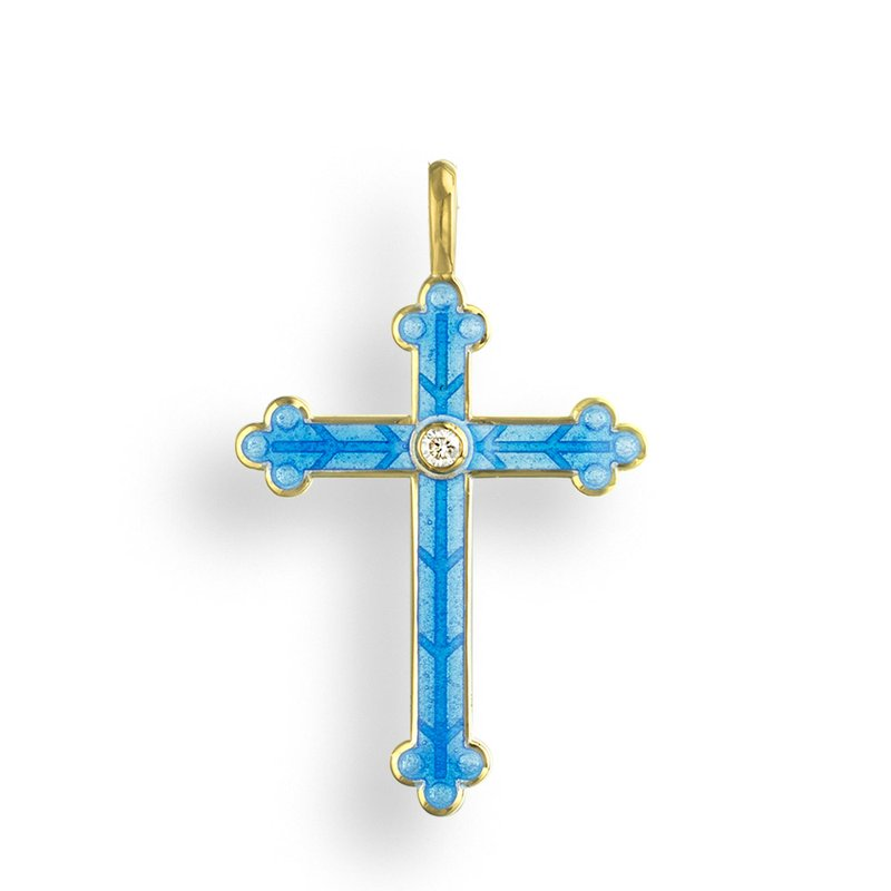 Nicole Barr Designs Blue Cross Pendant.18K -Diamond