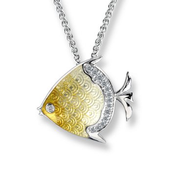 Sterling Silver Angel Fish Necklace -Yellow. White Sapphires.