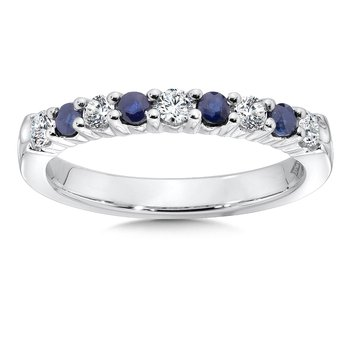Diamond and Sapphire Stackable Ring in 14k White Gold